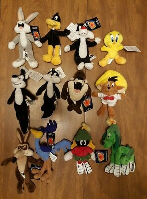 "NEW 1999 Warner Brothers Looney Tunes Mini 6"" Plush Bean Bag Toys Set of ( 12 )"