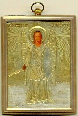 Antique Russian Icon Sterling Silver Gold Plated Michael   (2310b)