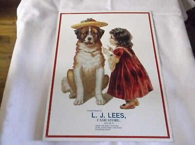 L. J. LEE'S Cash Store Sign ~ Victorian Girl and Dog Reproduction Metal Tin Ad
