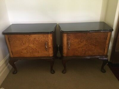 Art Deco Walnut Veneer Pair Bedside Table Cabinets Good Condition Wood Glass