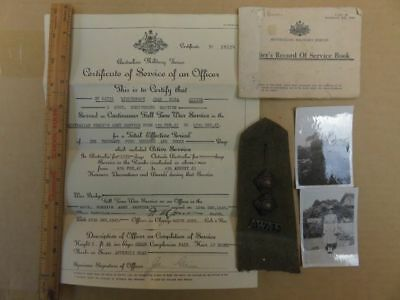 South Australian Ww2 Awas Female Officer Papers Badge Photos Service Book