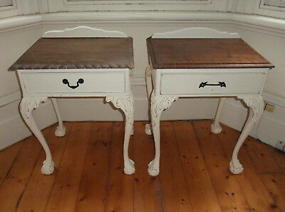 2 Vintage Bedside Tables. French Provincial Appeal. Claw & Ball foot. Solid Wood