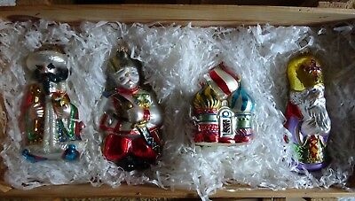 Kurt S Adler Polonaise Russian Collection 4 GLASS ORNAMENTS in Wooden Box Crate
