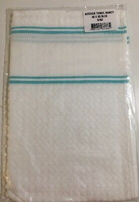 White Hand Towel Aqua Blue Trim Cross Stitch Panel Dohler Q102 40cm X 60cm