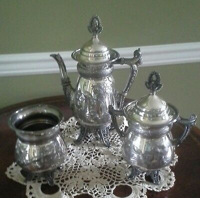 ANTIQUE silver plate victorian 3 piece teapot set  with peacock nice pre-owned