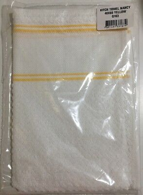White Hand Towel Yellow Trim Cross Stitch Panel Dohler Q103 40cm X 60cm