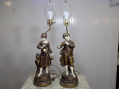 Stunning Vintage Pair of Figural Man Woman Chalk Plaster Table Lamps
