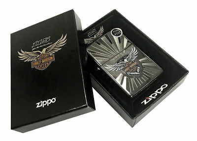 Zippo Lighter Harley-Davidson 115th Anniversary Black Ice Engraved 29556