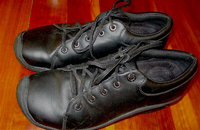 KEEN PTC Black Oxford Leather Work Shoes 8 39.5 Kitchen Chef Nursing Leather