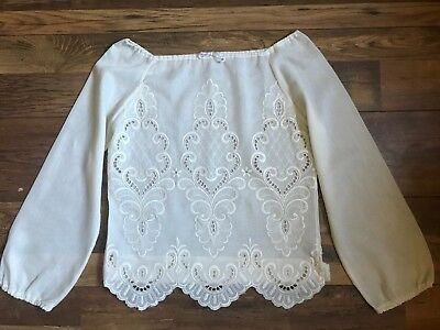 70s Vintage Cream Embroidered Bohemian Gypsy Hippie Top 10 12 M
