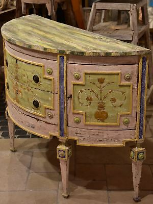 Demilune commode with pink, green, yellow and blue patina