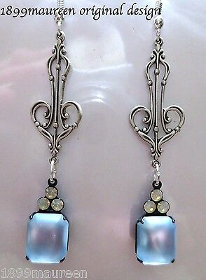 Art Nouveau Art Deco earrings vintage style frosted blue glass drop long