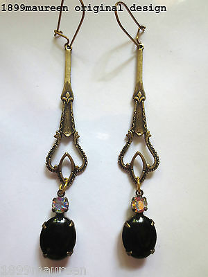 Art Nouveau Art Deco earrings Edwardian Celtic vintage style black drop long