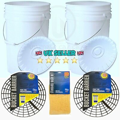 2 x 20L Heavy Duty Car Wash Buckets, Bucket Barriers/Grit Guards & Wash Mitt