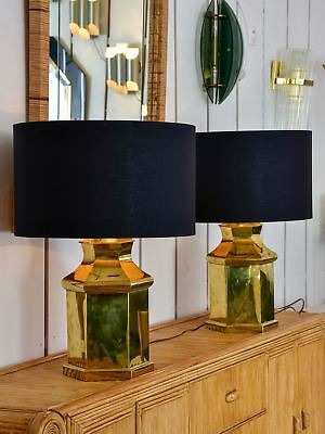 Pair of vintage French table lamps - gold and black