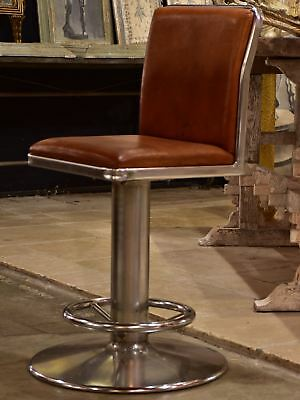 Vintage French leather barstool
