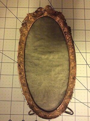 Lovely Antique Oval Brass Picture Frame With Grapes And Grape Leaves