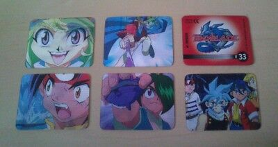 6 BeyBlade 3D mini cards animate TUTTE DIVERSE PROMINTER 2003