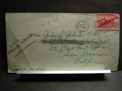 USS CASCADE AD-16 forward to USS BELLE GROVE Naval Cover 1944 WWII Sailor's Mail