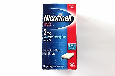 Nicotinell Fruit 2mg Medicated Chewing Gum Regular Strength Gum 96 Pieces -12/17