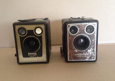 x2 Vintage BOX BROWNIE SIX-20 Kodak Cameras Model C
