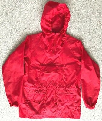 Vintage CHILDS CAGOULE RED Kids 1970's Original PERFECT CONDITION Kagool KAGOULE