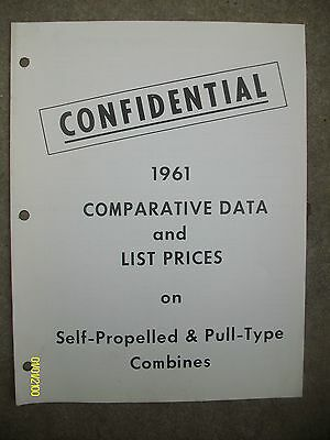 Vintage 1961 IH international Harvester Confidential Combines Data List Prices