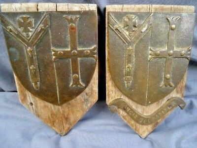 "Two Rare 19Th Century Bronze Armorial Plaques, ""vincit Qui Patitur"""