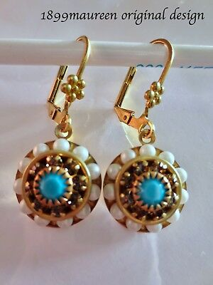 Art Nouveau Edwardian vintage style earrings pearl turquoise Art Deco dainty