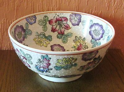Chinese 8-inch Hand-painted Serving Bowl with Multi-coloured Flowers.