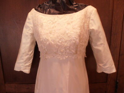 Vintage WEDDING Gown BRIDAL 1960's White Lace Bodice Column w/5'  TRAIN Sz 10-12
