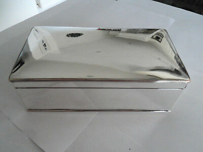Vintage Silver Plate On Copper Table Box Plain Mirror Finish Nice Heavy Quality