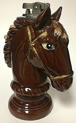 Vintage Japan Ceramic Chess Knight Horse Head Table Lighter