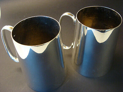 Silver plated tankards, a pair. Viceroy Plate, Family pieces from 1920's Ceylon