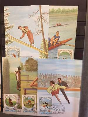 S.Tome E Principe 1983 Olympics Sport Skiing Cycling Horses Maxi Cards x 8 (SP1)
