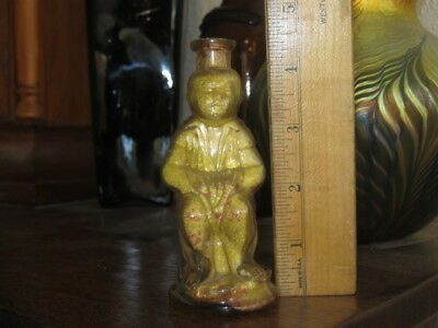 Old Soap Or Candy Bottle With Boy Sitting On Commode From Estate With Contents