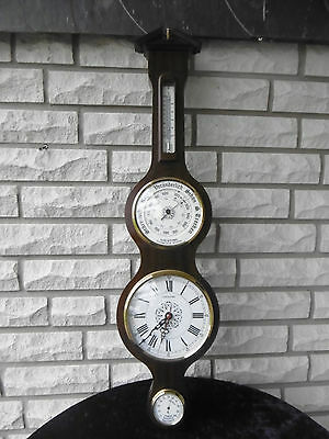 TOP Goldtime Wanduhr Wetterstation Einstellbarometer Thermometer Hygrometer 60er