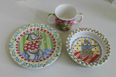 Essex Collection Elephant Rabbit Frog Kids Dish Set  Made In Portugal --Retired