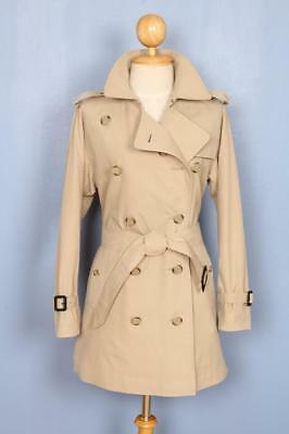 BEAUTIFUL Womens BURBERRY Double Breasted Short TRENCH Coat Mac Beige 12/14