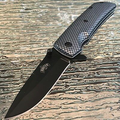 Master Usa Spring Assisted Tactical Carbon Fiber Folding Pocket Knife New