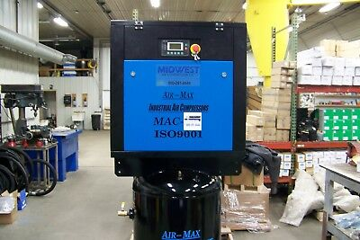 Air-Max 7.5 hp 1 phase AMB-7STM120V (NEW) Ind. Rotary Screw Compressor 120 Vert.