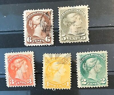 Canada postage stamps lot of 5 old Queen Victoria         F