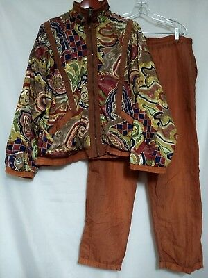 Vintage Pearl River Clothing Co Women Multi Color Paisley 2 Pc Shell TrackSuit M