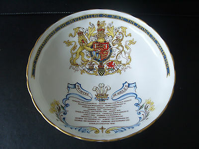 Aynsley china Charles 1969 Investiture footed bowl-list of all Princes Of Wales.