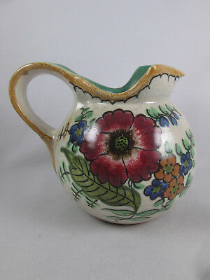 Vintage Royal Gouda Holland Art Pottery Areo Milk Pitcher Flowers Handpainted