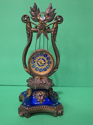 Antique Vintage Reuge Gilt Sterling Silver Clock Music Box (Lyre Shape) Amethyst