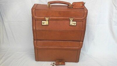 FERRARI 2-PART SCHEDONI LEATHER ITALY TRAVEL Carry Luggage w/ KEYS & FOB Baggage
