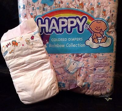 Vintage Happy Brand Pink Diaper Rainbow Collection Sz Large Plastic Backed