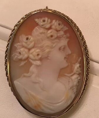 18ct Gold Large Antique Cameo Brooch And Pendant Superb Quality.