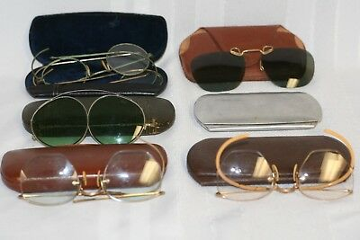 Vintage Lot Of Eye Glasses, Sunglasses, Ear Pieces & Cases